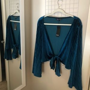 Nasty Gal Blue Velvet Blouse
